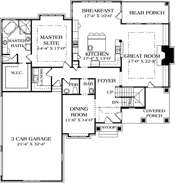 Main level floor plan of a 5-bedroom two-story Tudor home with formal dining room, great room, kitchen, primary suite, and front and rear covered porches.