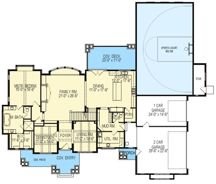 Main level floor plan of a 6-bedroom two-story Northwest home with covered entry and patio, living room, den/study, family room, primary suite, and shared dining and kitchen with access to the rear covered deck.
