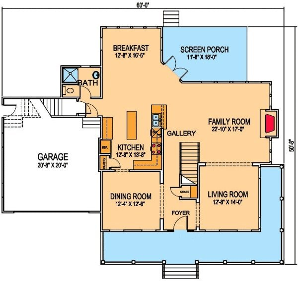 Main level floor plan of a two-story 3-bedroom colonial home with living room, formal dining room, family room, and kitchen with breakfast nook and screened porch access.
