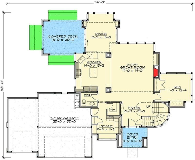 Main level floor plan of a two-story 3-bedroom Northwest home with a great room, a den, laundry room, kitchen, and dining that opens to the covered deck.