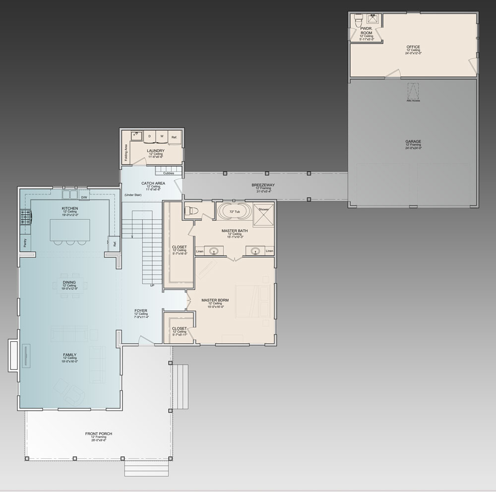 Main level floor plan of a two-story 3-bedroom The Ingalls home with a wrap-around porch, Family room, shared dining and kitchen, primary suite, laundry, and a catch area that opens to the breezeway leading to the separate two-car garage with office and powder room.