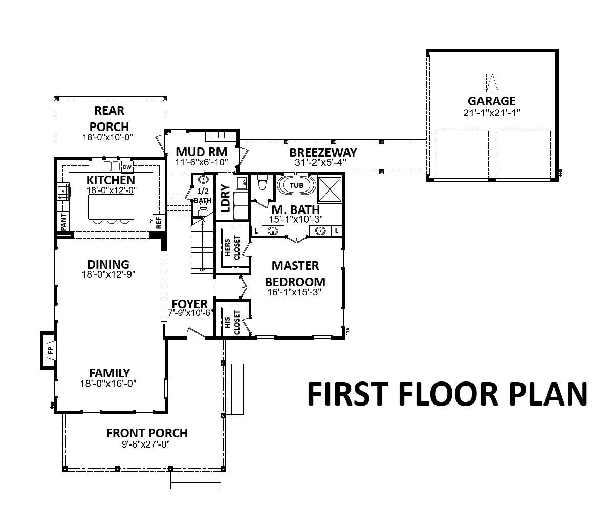 Main level floor plan of a two-story 3-bedroom Westview farmhouse-style home with a wrap-around porch, family room, shared dining and kitchen, primary suite, and a mudroom that opens to the breezeway leading to a separate garage.