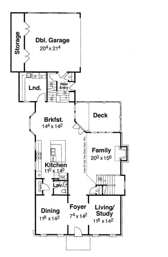 Main level floor plan of a two-story 4-bedroom Davenport - A home with formal dining room, kitchen, family room, living/study, laundry room, and a double garage with storage space.