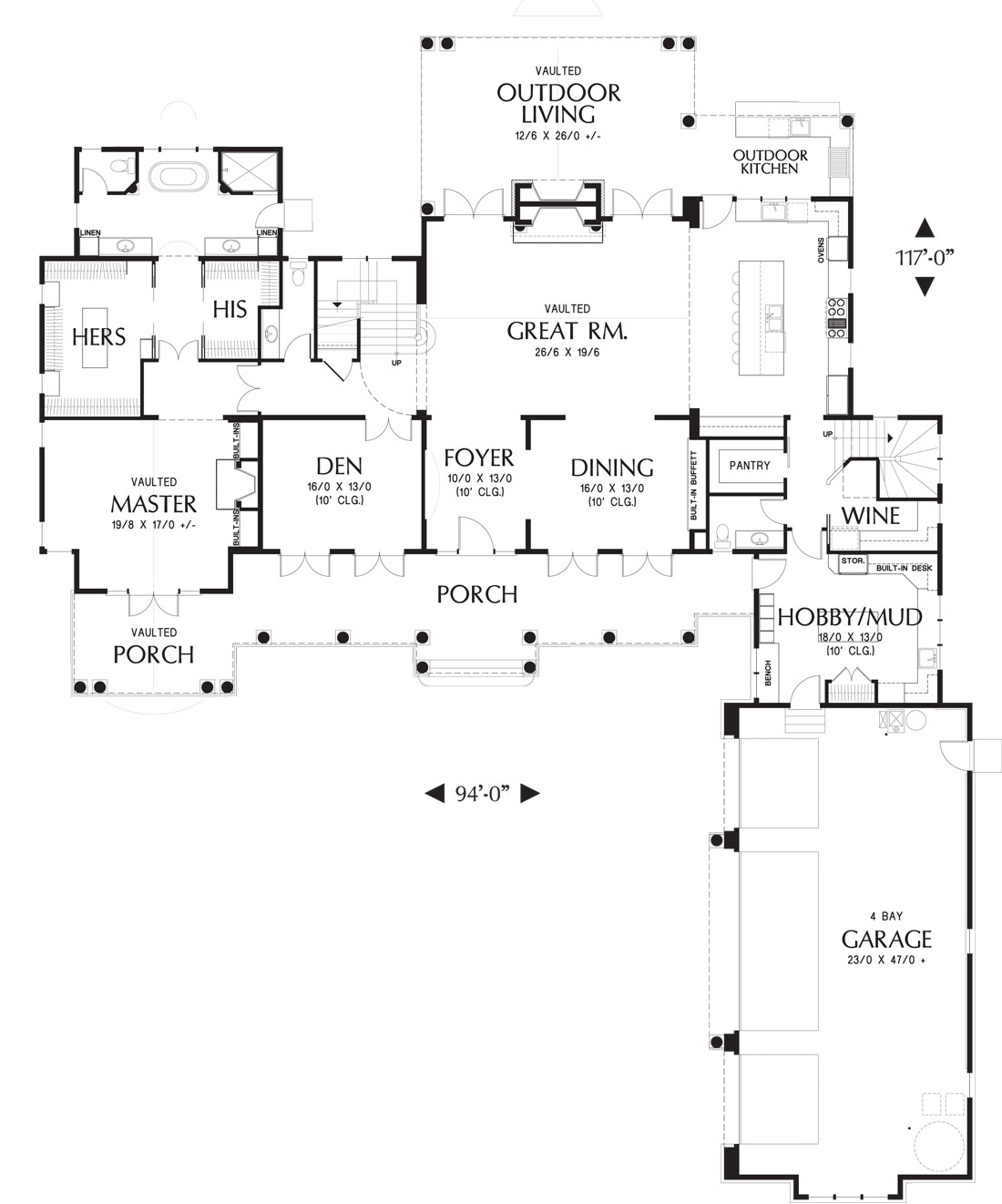 Main level floor plan of a two-story-bedroom Dennis home with a bay garage, hobby/mudroom, wine cellar, formal dining room, den, primary suite, and great room with double doors leading out to the outdoor living.