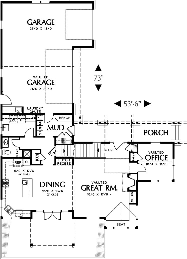 Main level floor plan of a two-story 4-bedroom Doncaster home with a vaulted great room, shared dining and kitchen, office, and a mudroom leading to the 3-car garage.