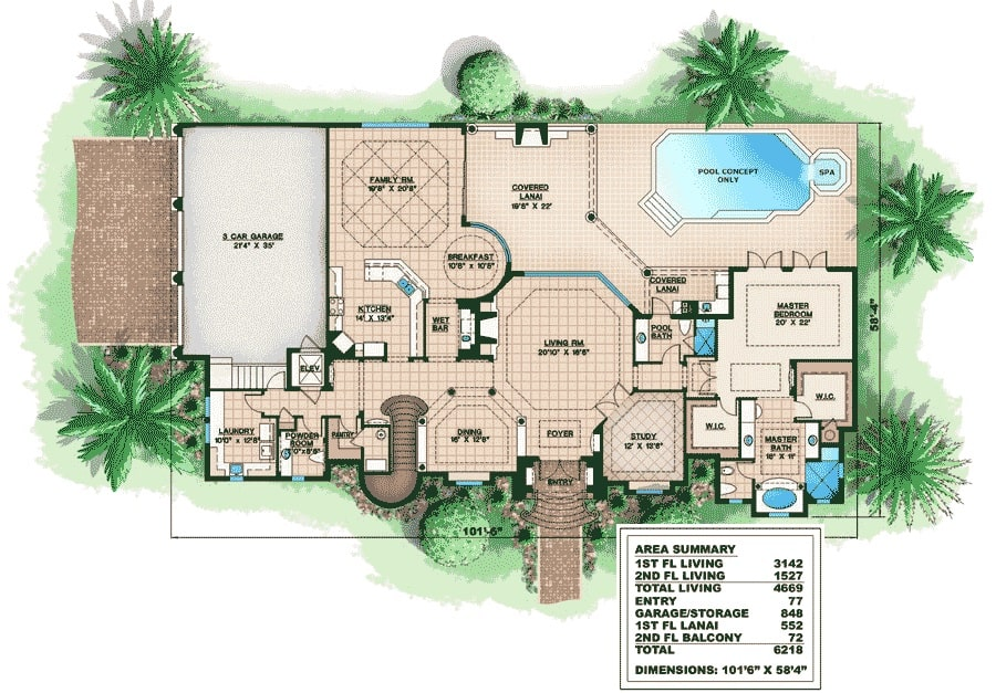 Main level floor plan of a two-story 4-bedroom Mediterranean home with living room, study, formal dining room, master suite, family room, and kitchen with breakfast nook and a wet bar.