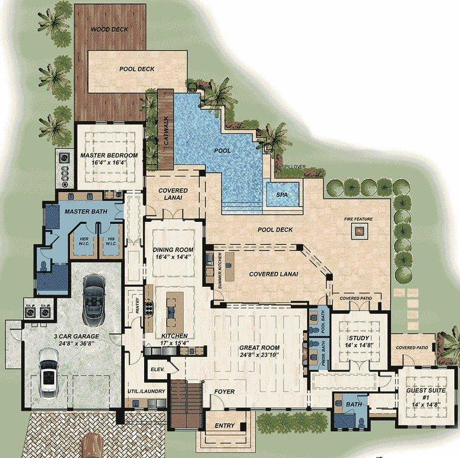 Main level floor plan of a two-story 4-bedroom modern Florida home wit great room, study, guest suite, utility room, kitchen,, dining room, master suite, and lots of outdoor spaces.