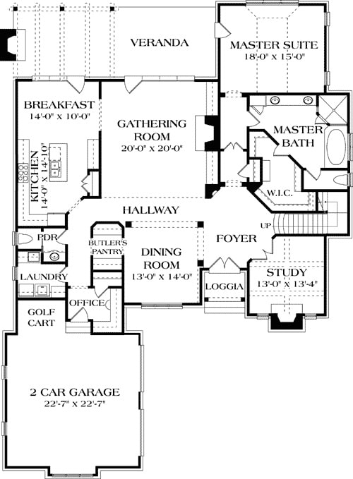 Main level floor plan of a two-story 4-bedroom ornate Tudor home with a gathering room, formal dining room, study, office, kitchen, primary suite with access to the rear veranda, and a 2-car garage with a golf cart.