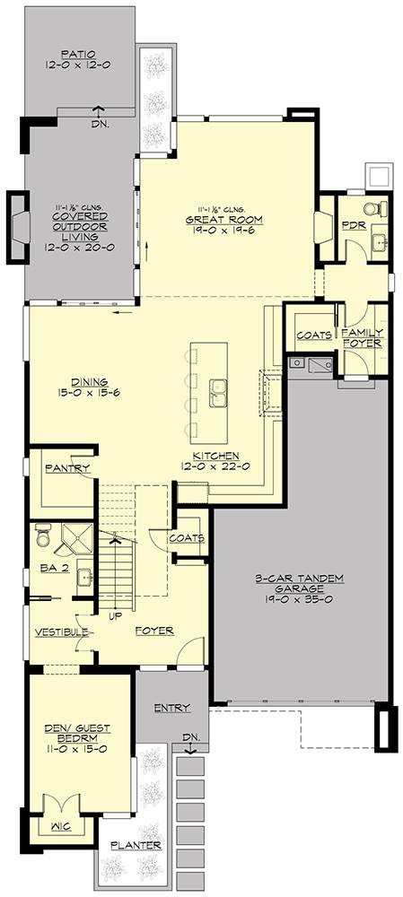 Main level floor plan of a two-story 4-bedroom Sunoria contemporary, den/guest bedroom, two foyers, kitchen with shared dining and walk-in pantry, patio, and covered outdoor living with a fireplace.