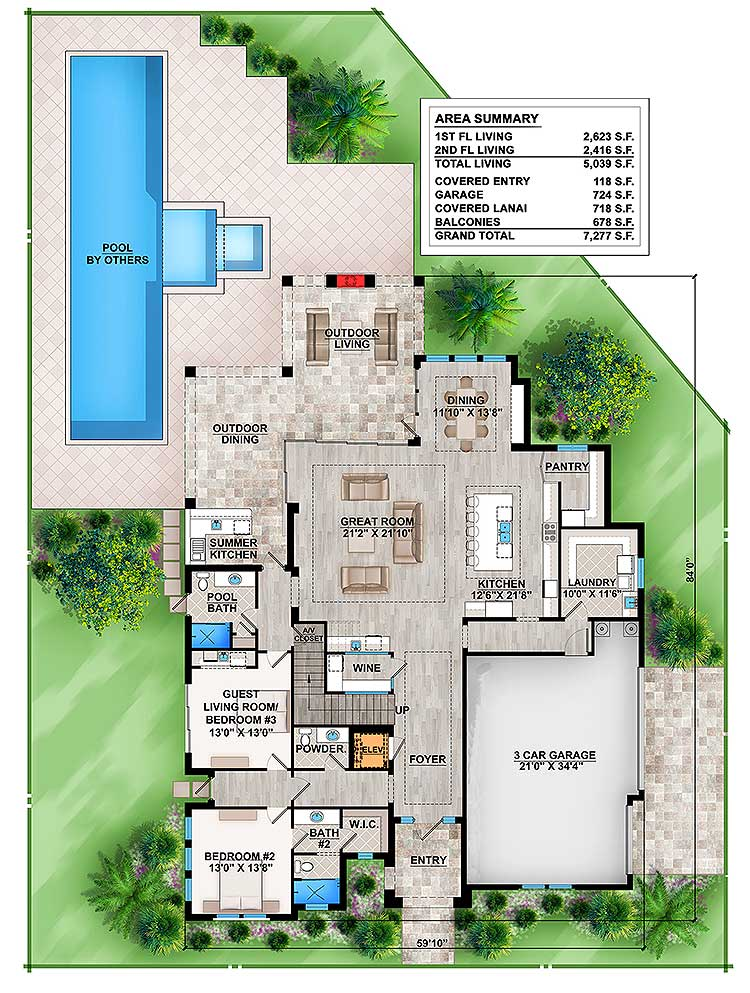 Main level floor plan of a two-story 4-bedroom upscale contemporary home with great room, kitchen, laundry, wine cellar, two bedrooms, and rear lanai with outdoor dining and living.