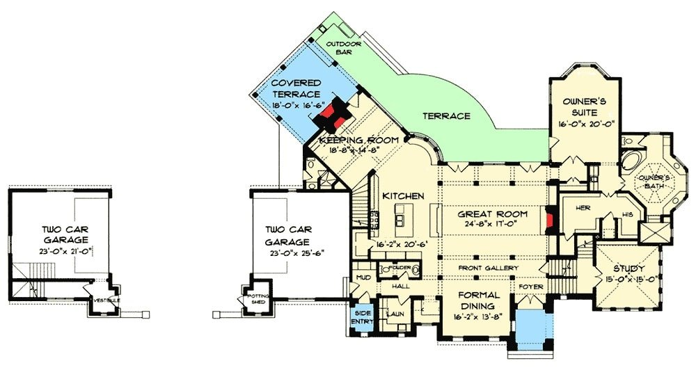 Main level floor plan of a two-story 5-bedroom luxury Tudor home with great room, formal dining room, study, primary suite, kitchen, keeping room with access to the covered terrace, and a separate garage.