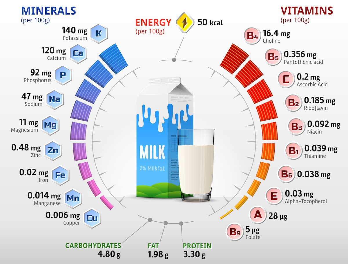 Milk nutritional facts chart