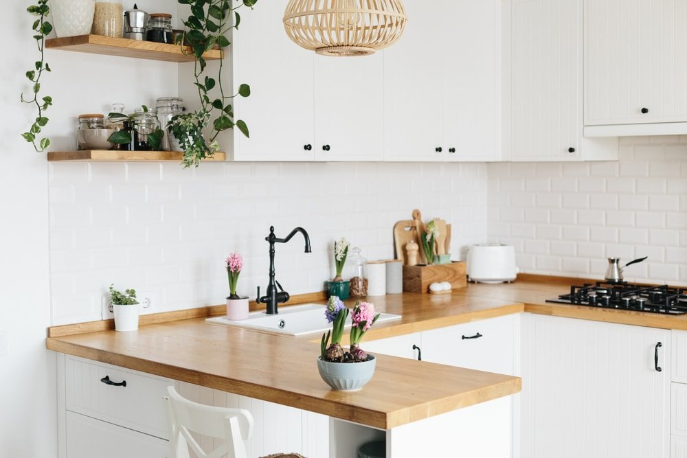 Small white kitchen with wooden countertop and indoor plants.