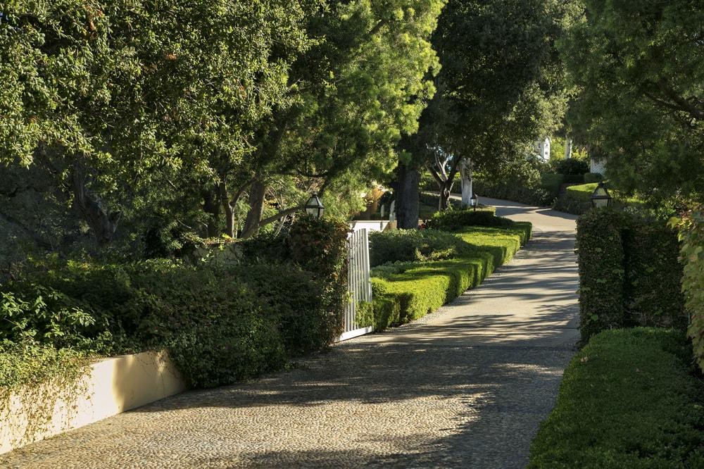 This is a view of the driveway through the lovely landscape filled with lush shrubbery and tall trees. Images courtesy of Toptenrealestatedeals.com.