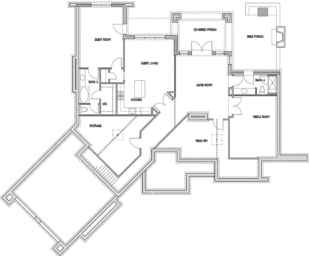 Basement floor plan with guest room, living and kitchen, media room, and a game room that opens to the covered porch.