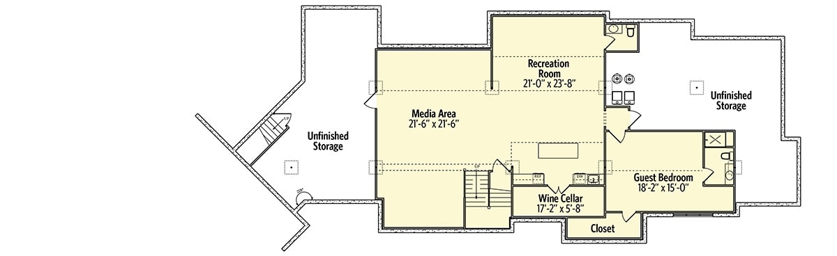 Optional finished lower level with media area, guest bedroom, wine cellar, and a recreation room with a half bath.