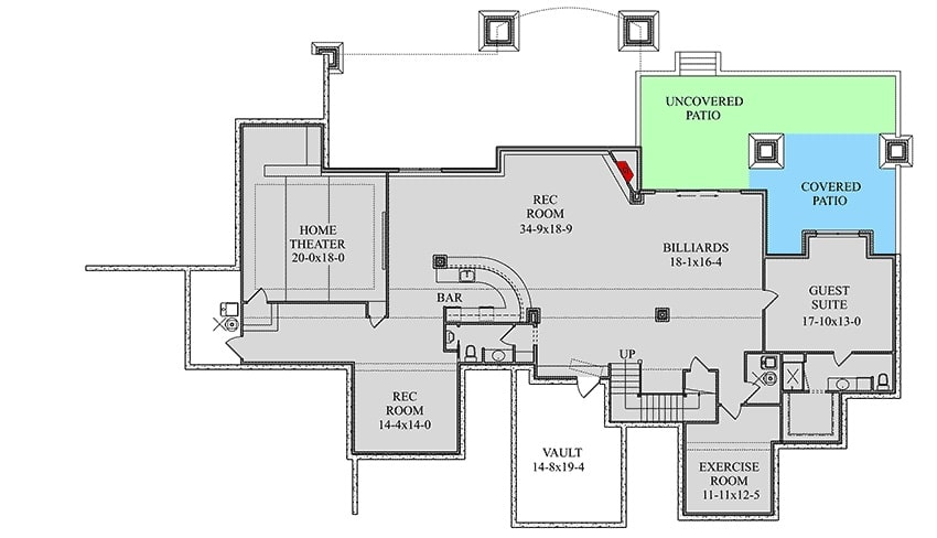 Optional lower level floor plan with home theater, exercise room, guest suite, and a large rec room with billiards and a bar.