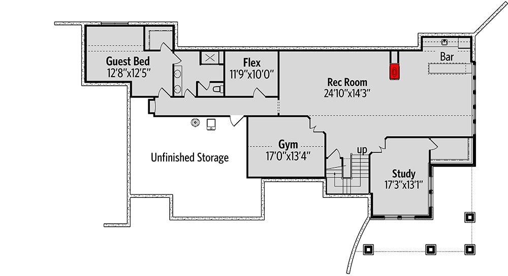 Optional lower level with additional guest bedroom, a flex room, rec room with a bar, study, gym, and massive unfinished storage.
