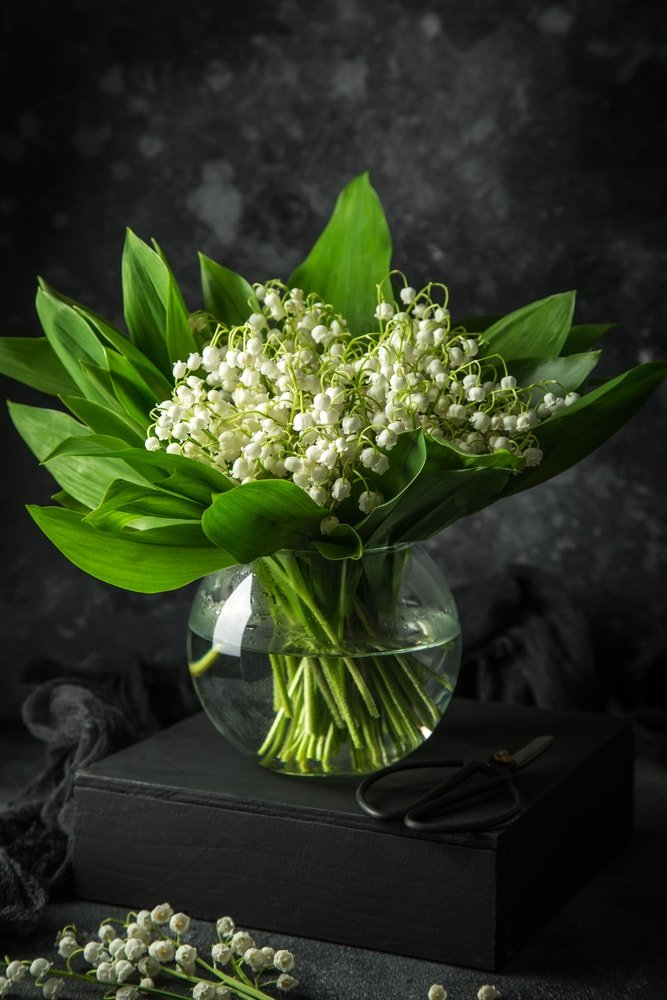 A bouquet of Lily of the Valley placed in a glass bowl.