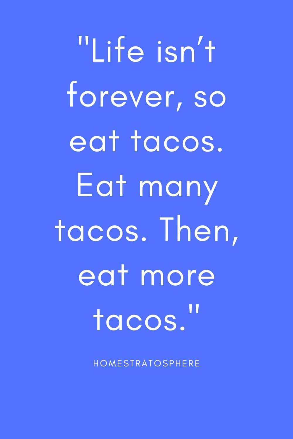 """Life isn't forever, so eat tacos. Eat many tacos. Then, eat more tacos."""