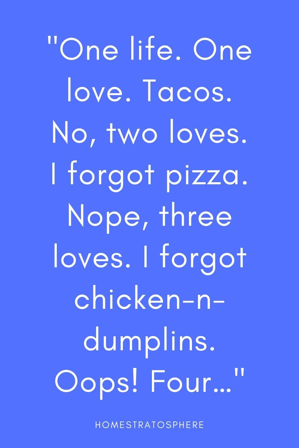 """One life. One love. Tacos. No, two loves. I forgot pizza. Nope, three loves. I forgot chicken-n-dumplins. Oops! Four…"""