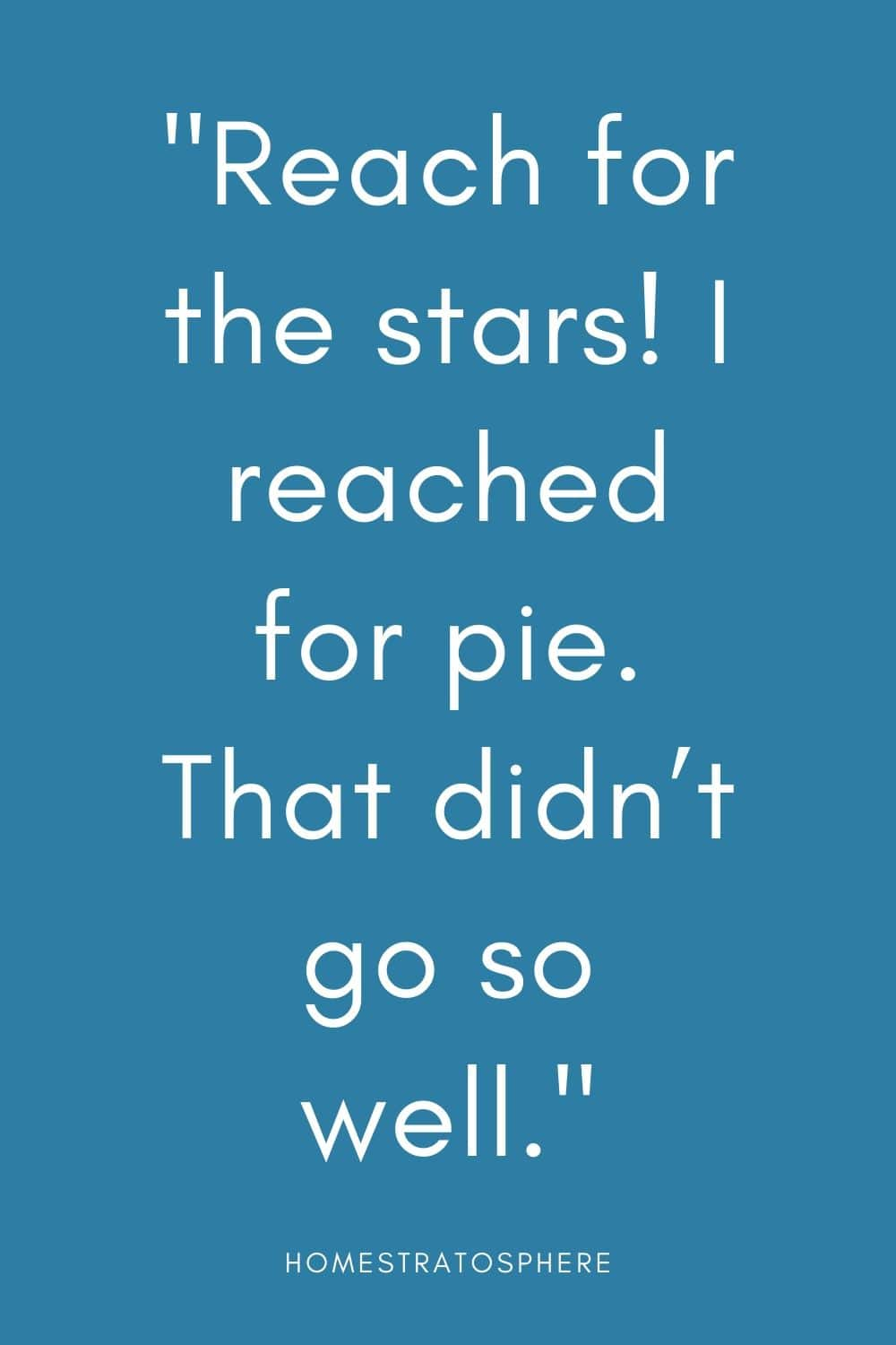 """Reach for the stars! I reached for pie. That didn't go so well."""