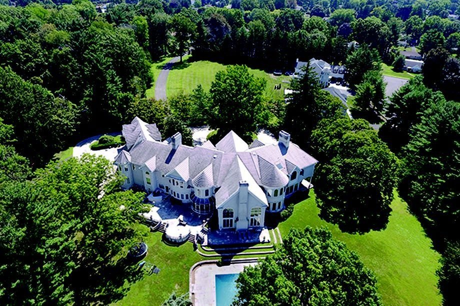 Bird's eye view of the mansion boasting its magnificent exterior and the gorgoeus natural landscape surrounding it. Images courtesy of Toptenrealestatedeals.com.