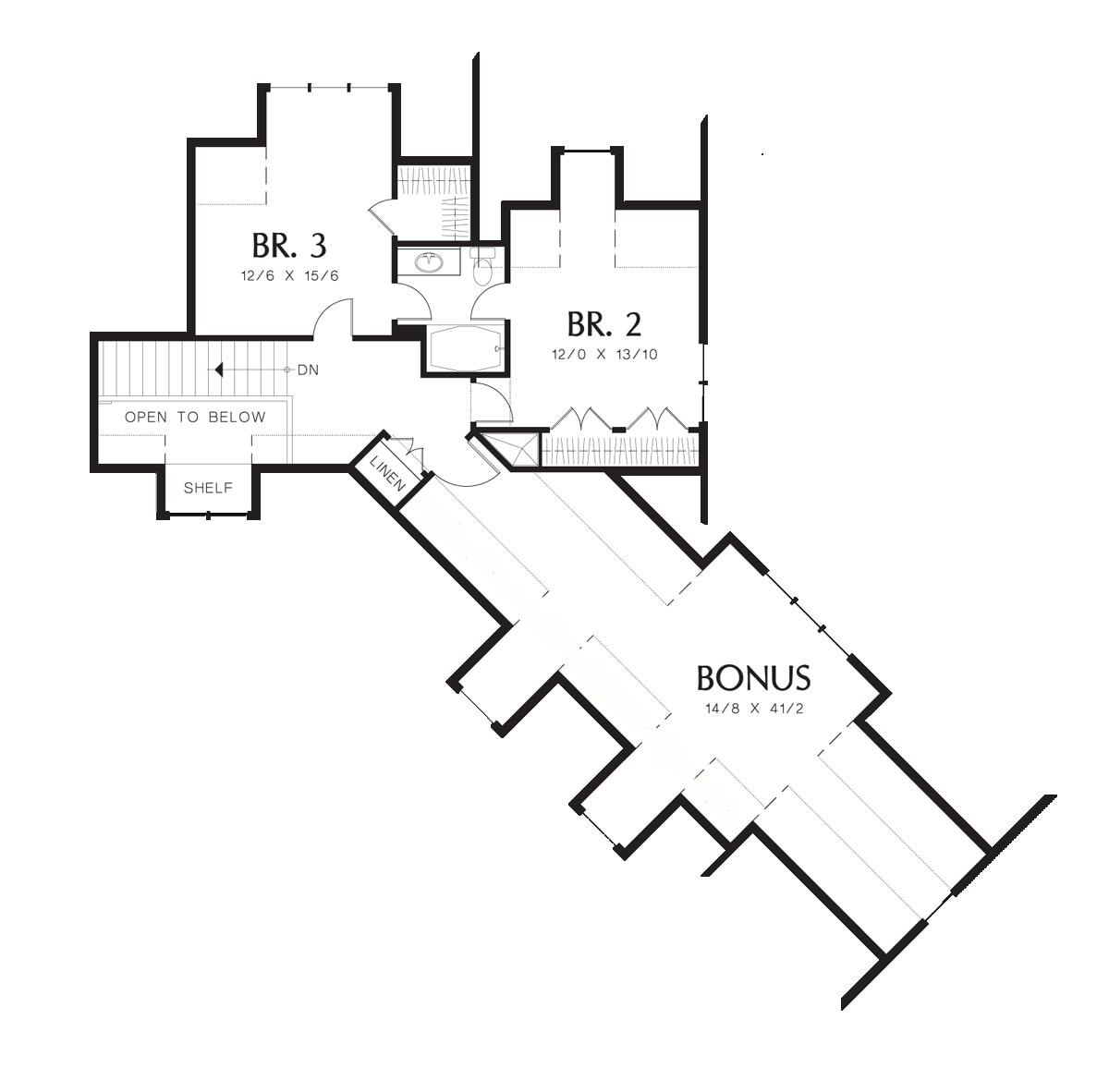 Second level floor plan with two additional bedrooms and a spacious bonus room over the garage.