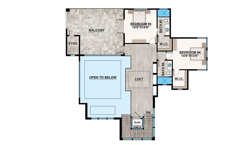 Second level floor plan with a loft, and two additional bedrooms where one has access to the spacious balcony.