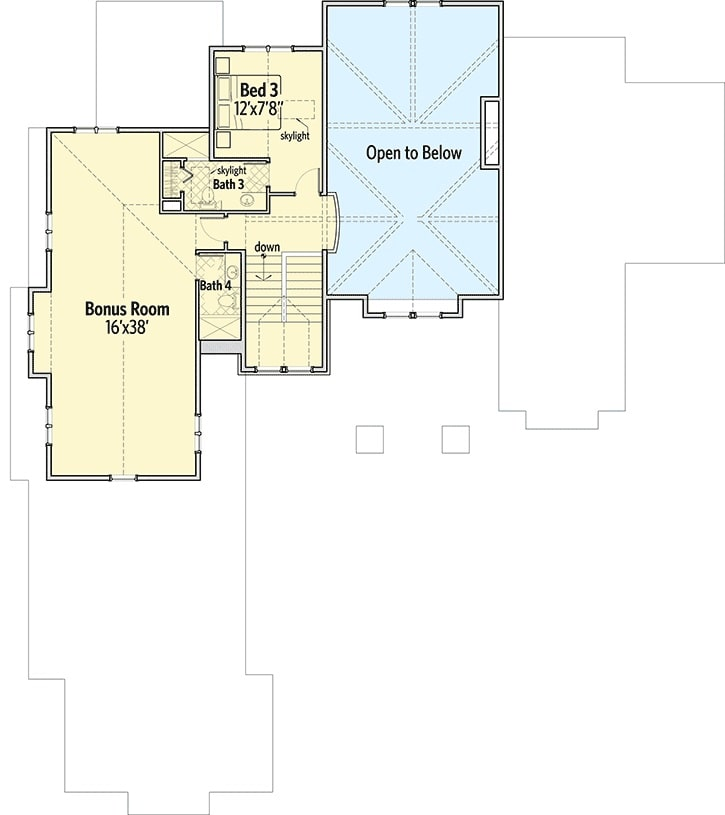 Second level floor plan with an additional bedroom and a large bonus room.