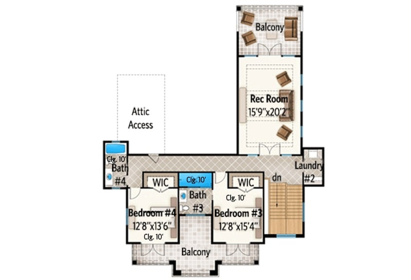 Second level floor plan with a large recreation room, laundry, and two additional bedrooms connected by a balcony.