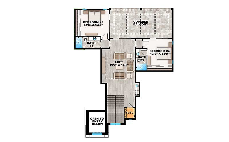 Second level floor plan with two more bedrooms and a large loft, all with access to the covered balcony.