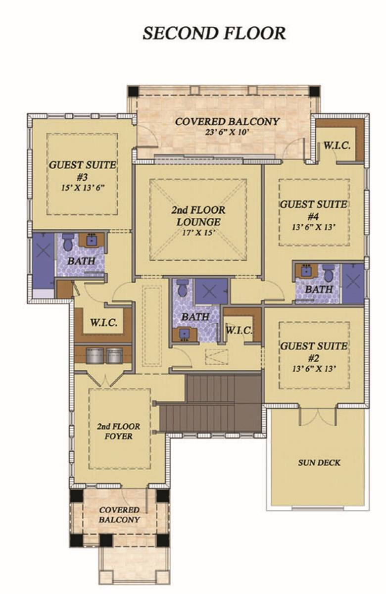 Second level floor plan with upper foyer, a lounge area, and three bedrooms with covered balconies and a sun deck.