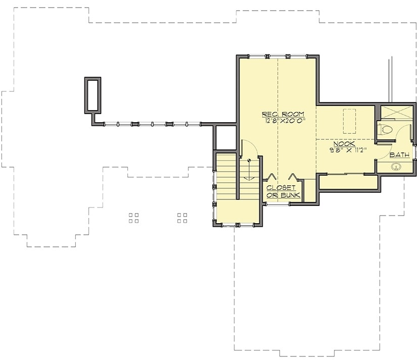 Second level floor plan showcasing a large recreation room complete with closet storage, nook, and a bath.