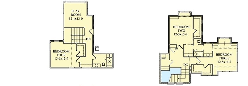 Second level floor plan with three bedrooms, two baths, and a playroom.