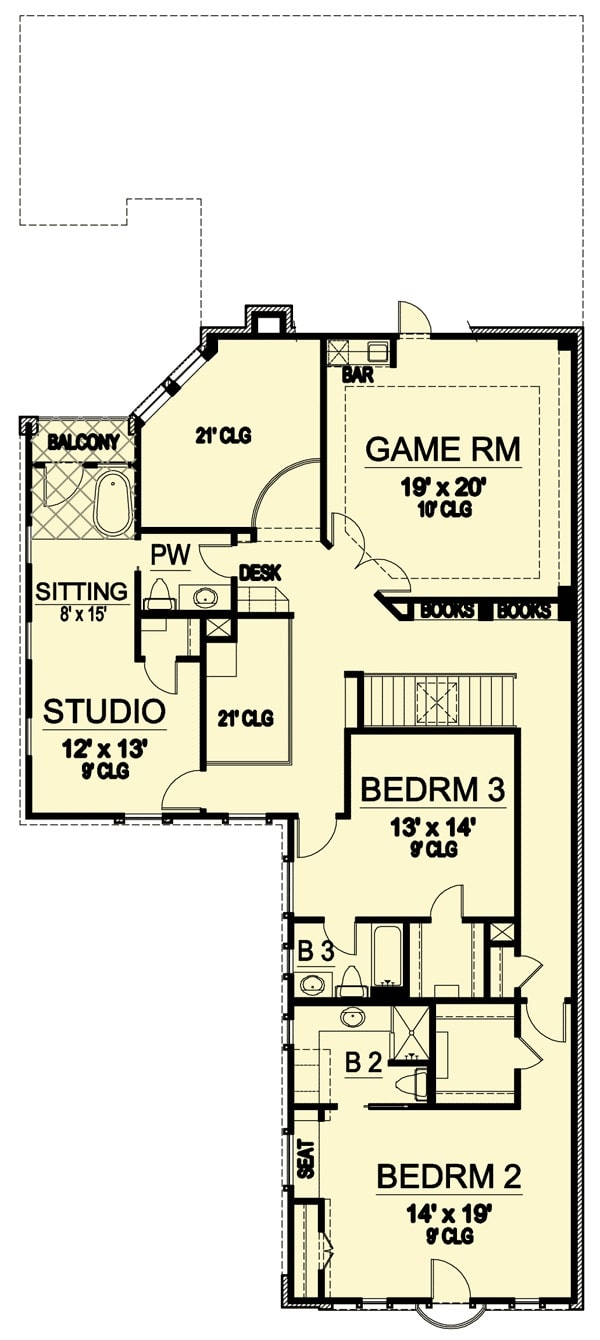 Second level floor plan with two bedrooms, a game room, and a studio with a sitting area and private balcony.