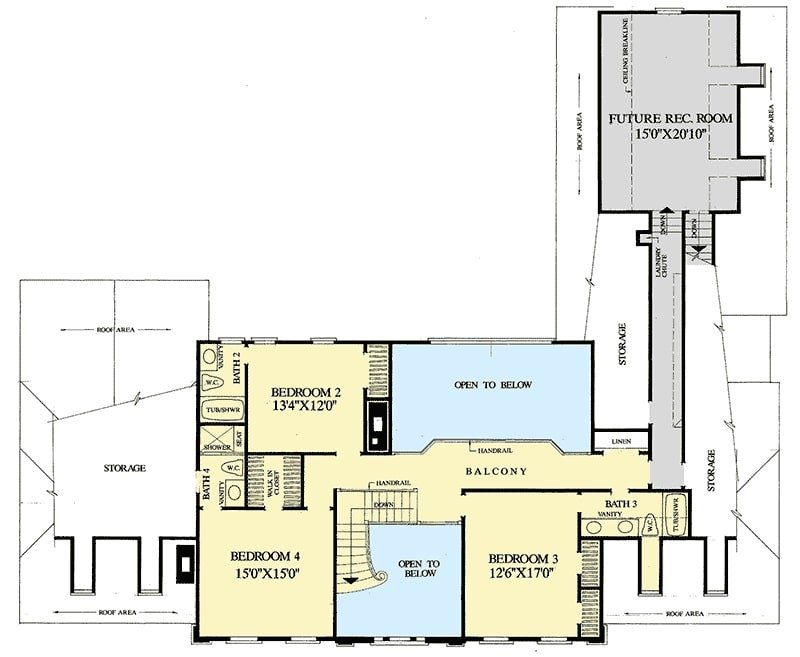 Second level floor plan with three bedrooms and a future recreation room over the two-car garage.
