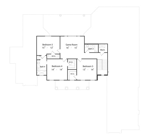 Second level floor plan with three additional bedrooms and a spacious game room.