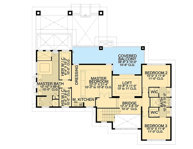 Second level floor plan with two bedrooms sharing a Jack and Jill bath and a master suite with private balcony and bar.