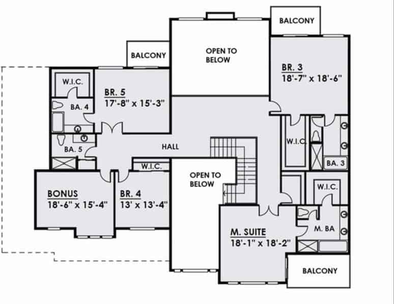 Second level floor plan with a bonus room, three bedrooms, and a primary suite with a private balcony.