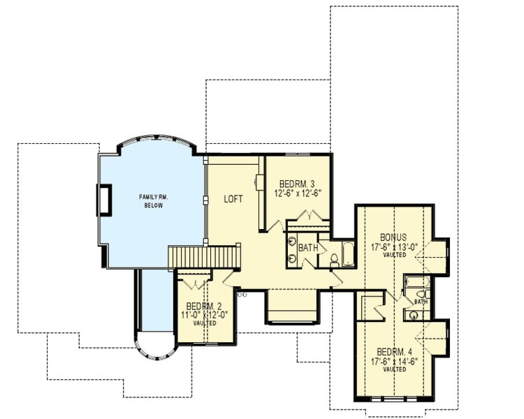 Second level floor plan with a loft, three bedrooms, and a vaulted bonus room.