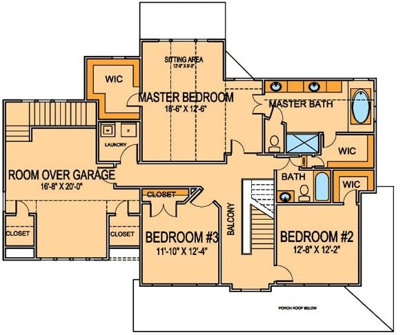 Second level floor plan with two bedrooms, a primary suite, and a bonus room over the garage.