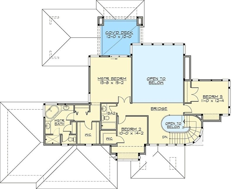 Second level floor plan with two bedrooms and a primary suite with a private deck.