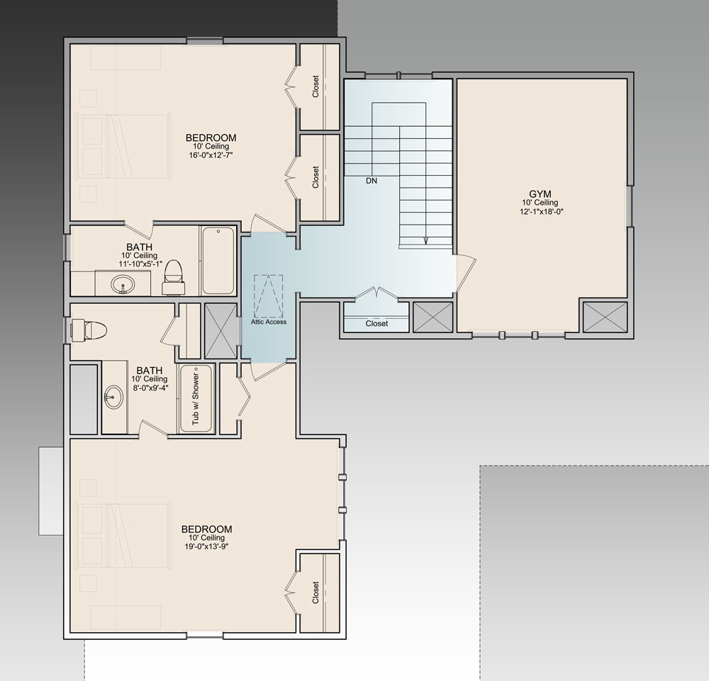 Second level floor plan with gym and two bedrooms, each with their own baths and closets.