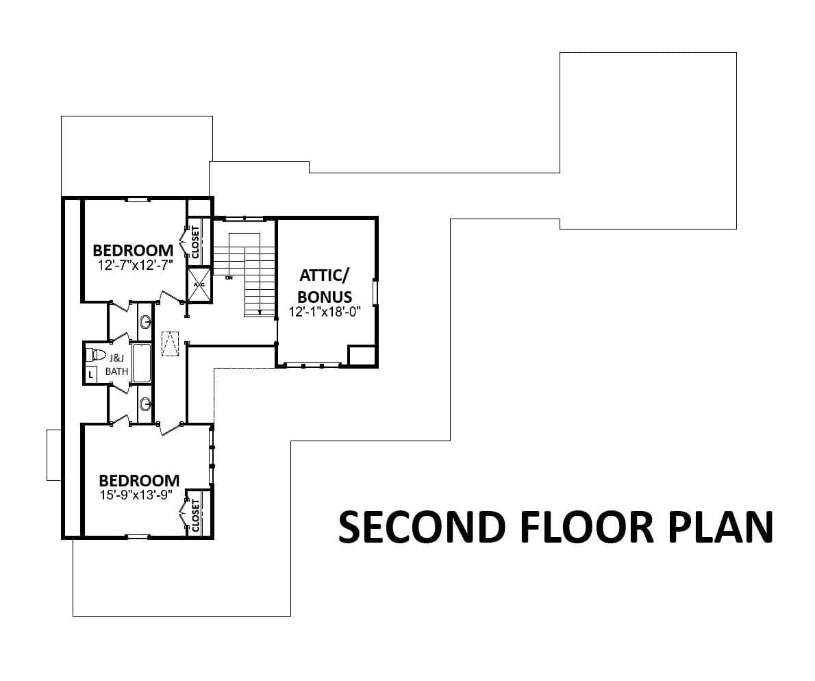 Second level floor plan with an attic/bonus room and two additional bedrooms sharing a Jack and Jill bath.