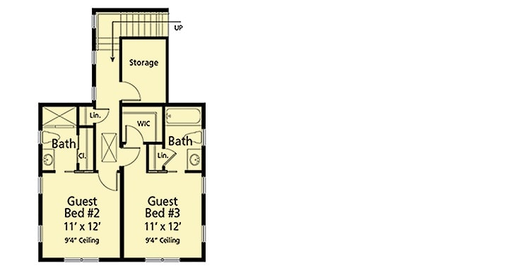 Second level floor plan with storage space and two bedrooms, each with their own baths and closets.