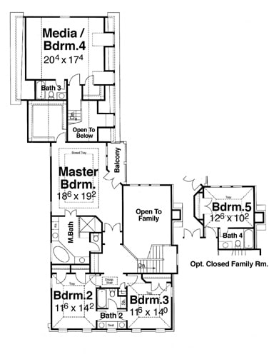 Second level floor plan with a primary suite, three bedrooms where one can be turned into a media room, and another bedroom on the optional closed family room.