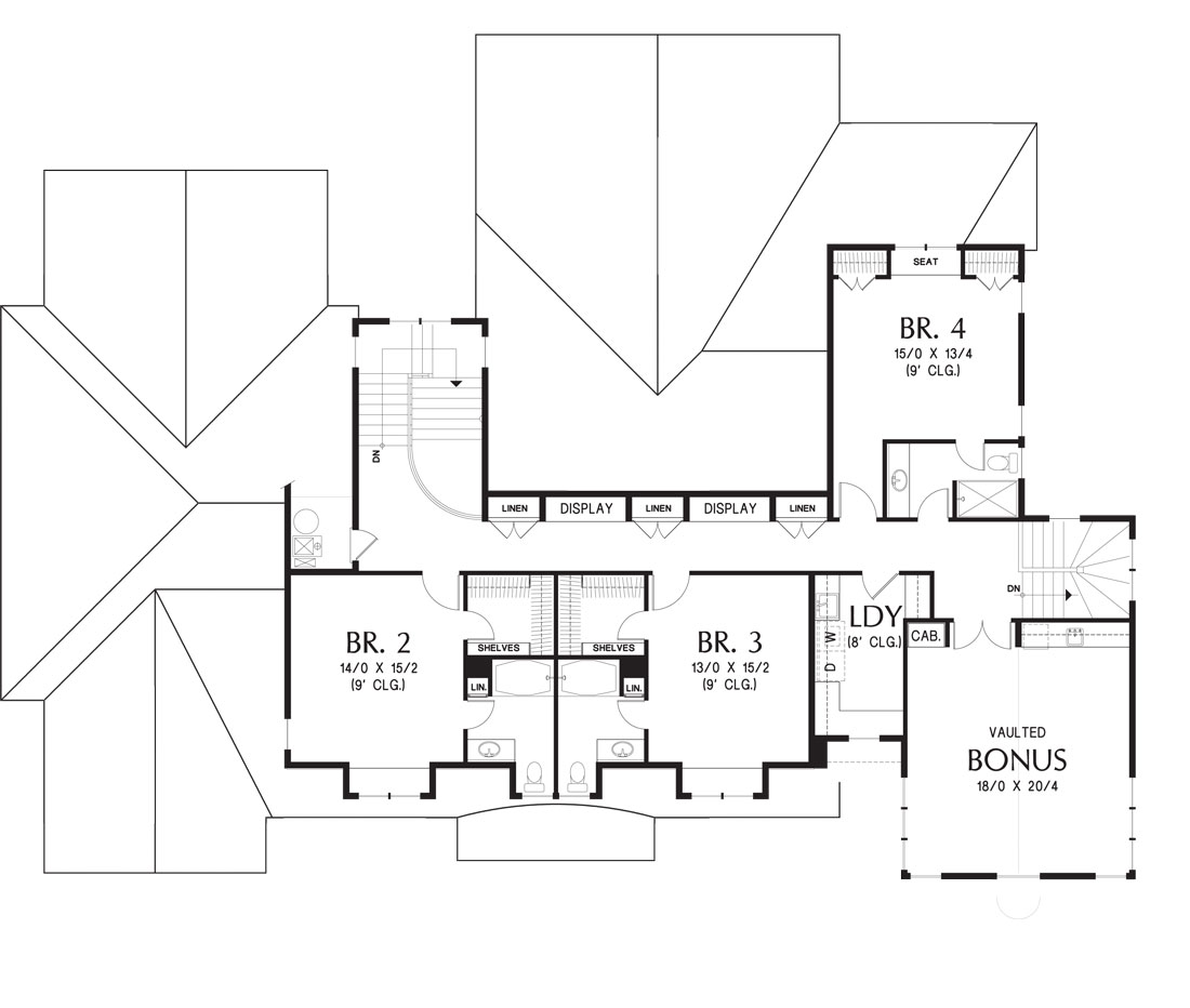 Second level floor plan with three bedrooms, a laundry room, and a vaulted bonus room.