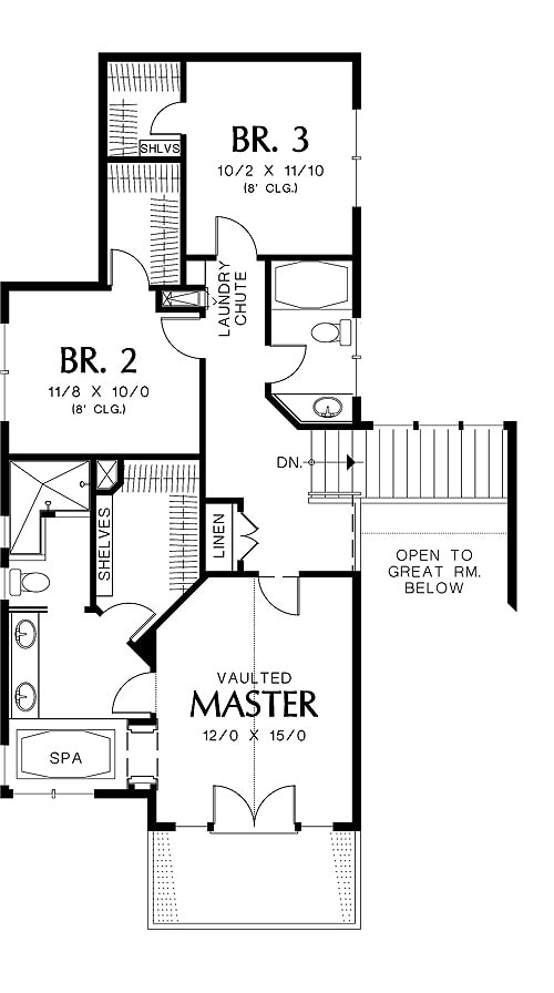 Second level floor plan with two bedrooms and a vaulted primary bedroom with a spa-like bath.