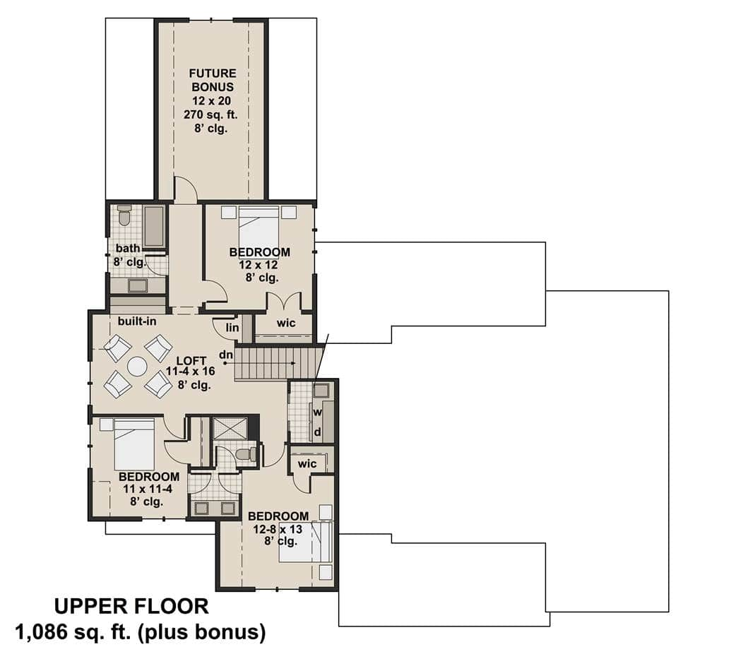 Second level floor plan with three bedrooms and a large future bonus room.